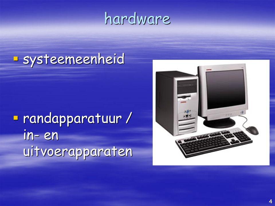 hardware systeemeenheid randapparatuur / in- en uitvoerapparaten