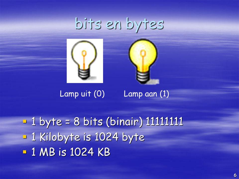 bits en bytes 1 byte = 8 bits (binair) 11111111