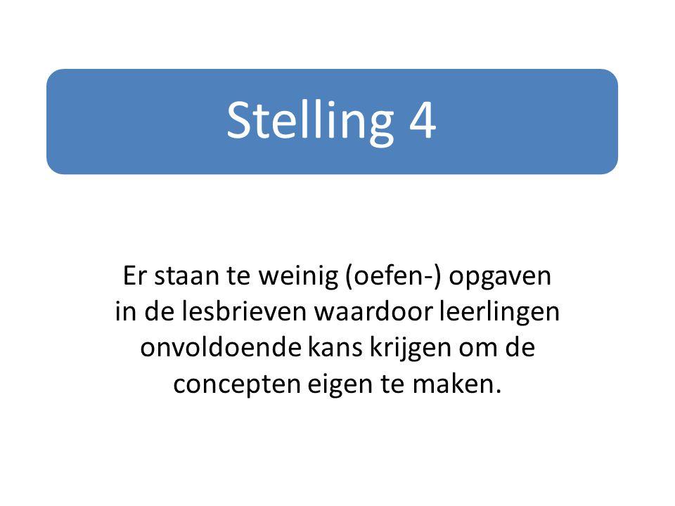 Stelling 4 Er staan te weinig (oefen-) opgaven in de lesbrieven waardoor leerlingen onvoldoende kans krijgen om de concepten eigen te maken.