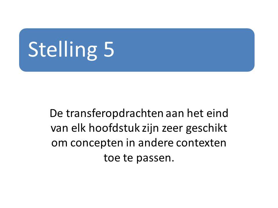 Stelling 5 De transferopdrachten aan het eind van elk hoofdstuk zijn zeer geschikt om concepten in andere contexten toe te passen.