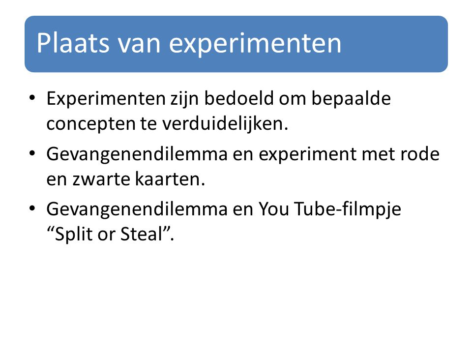 Plaats van experimenten