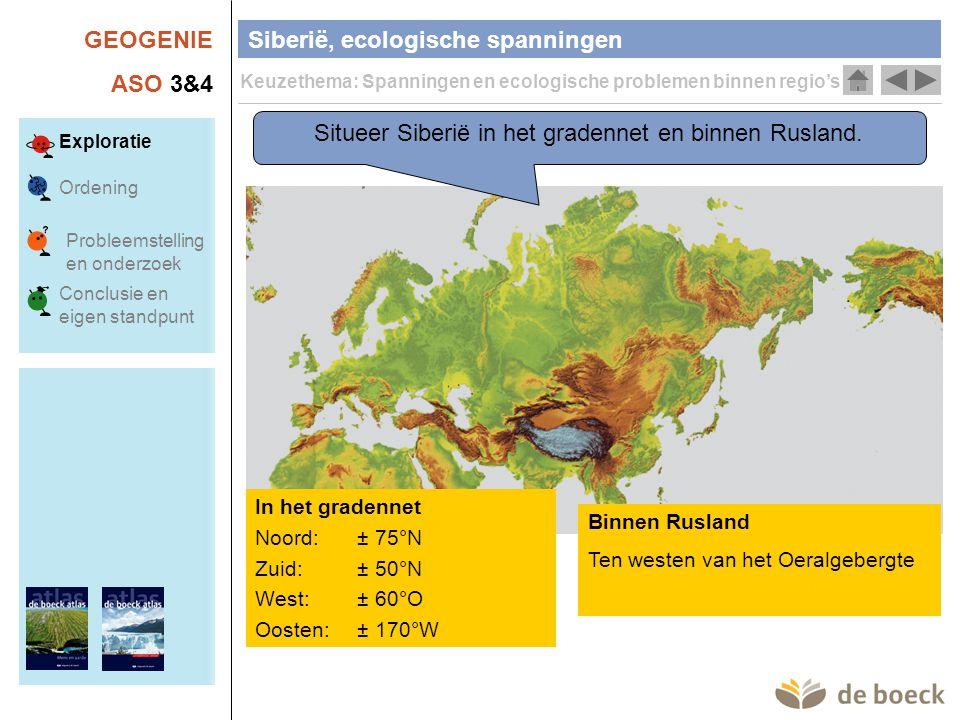 Situeer Siberië in het gradennet en binnen Rusland.
