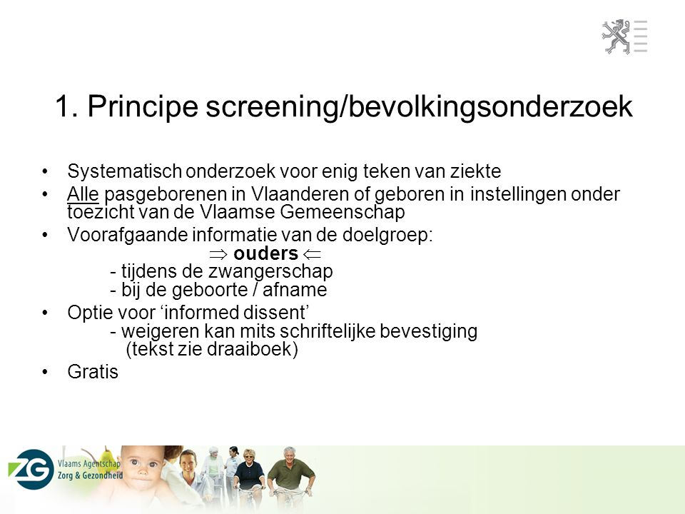 1. Principe screening/bevolkingsonderzoek