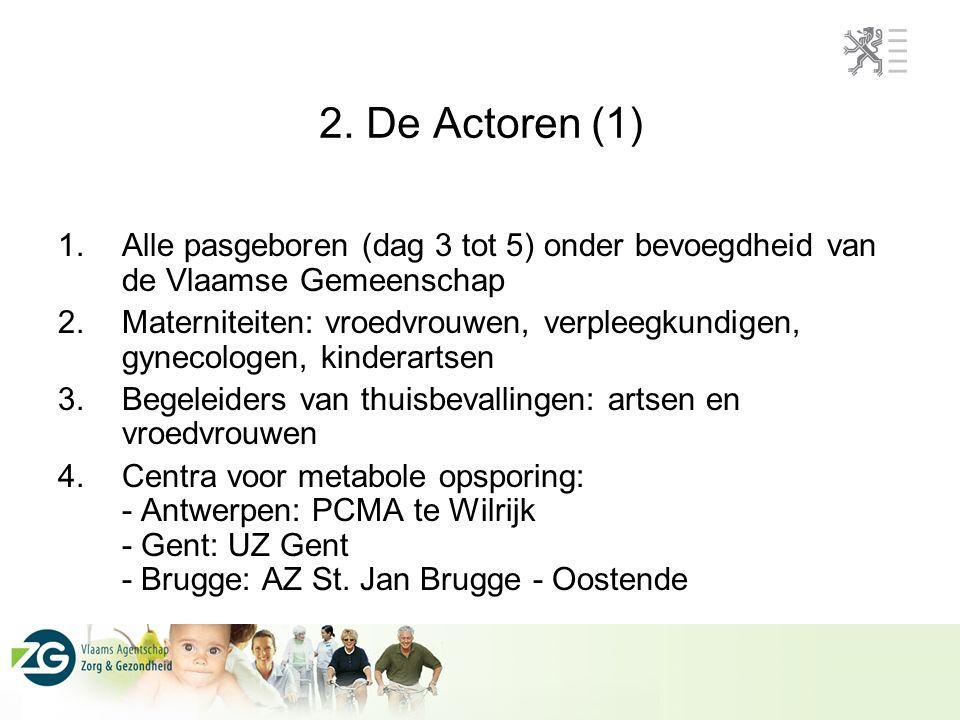 2. De Actoren (1) Alle pasgeboren (dag 3 tot 5) onder bevoegdheid van de Vlaamse Gemeenschap.