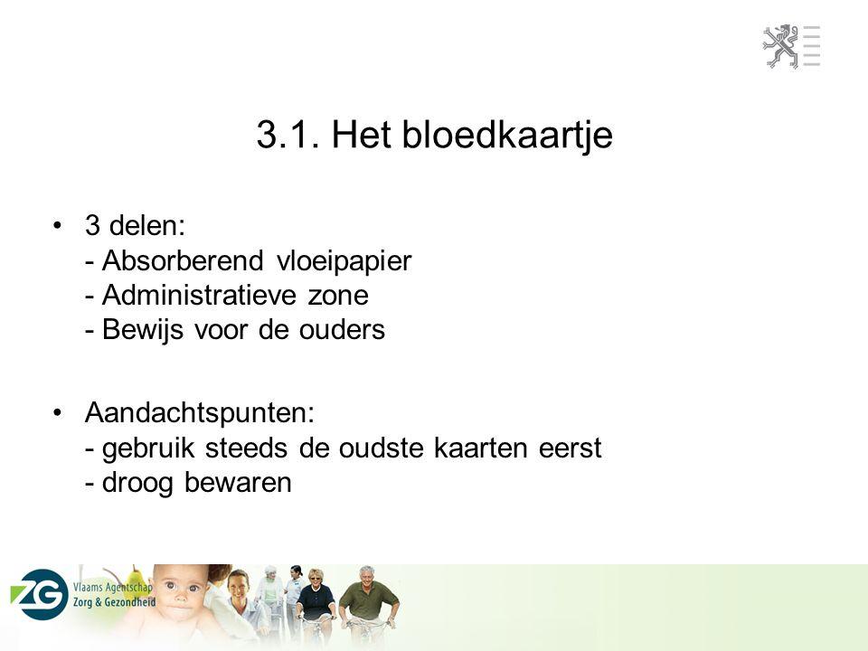 3.1. Het bloedkaartje 3 delen: - Absorberend vloeipapier - Administratieve zone - Bewijs voor de ouders.