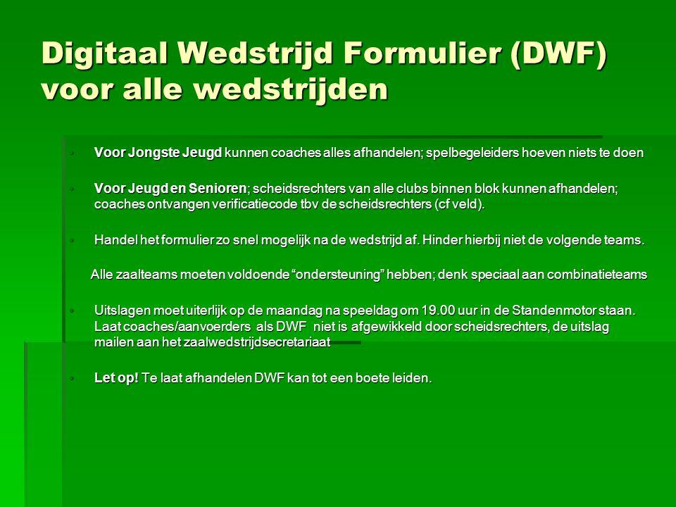 Digitaal Wedstrijd Formulier (DWF) voor alle wedstrijden