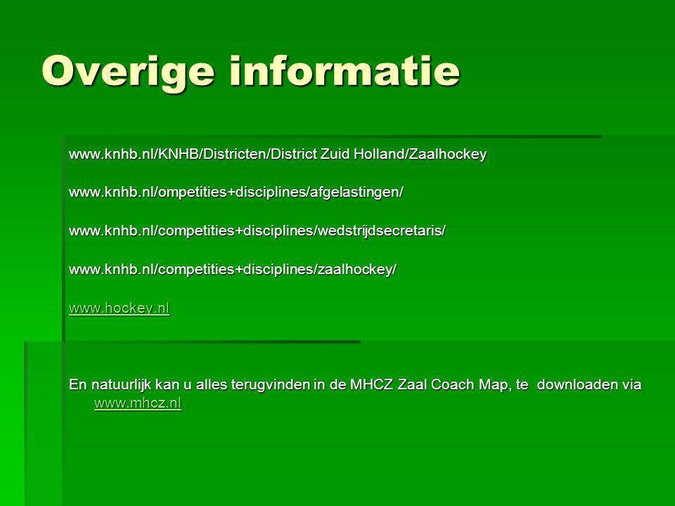 Overige informatie www.knhb.nl/KNHB/Districten/District Zuid Holland/Zaalhockey. www.knhb.nl/ompetities+disciplines/afgelastingen/