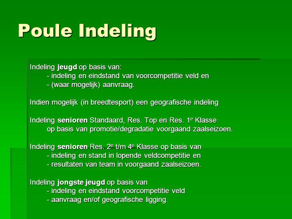 Poule Indeling Indeling jeugd op basis van: - indeling en eindstand van voorcompetitie veld en - (waar mogelijk) aanvraag.