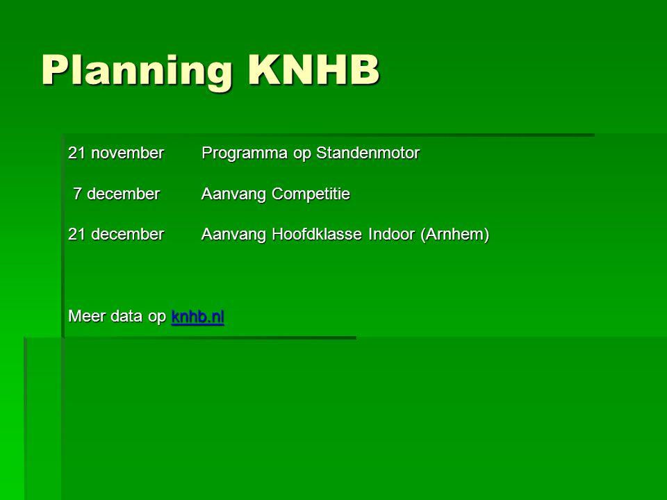 Planning KNHB 21 november Programma op Standenmotor