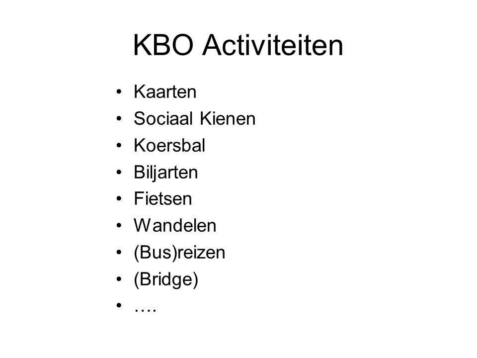 KBO Activiteiten Kaarten Sociaal Kienen Koersbal Biljarten Fietsen