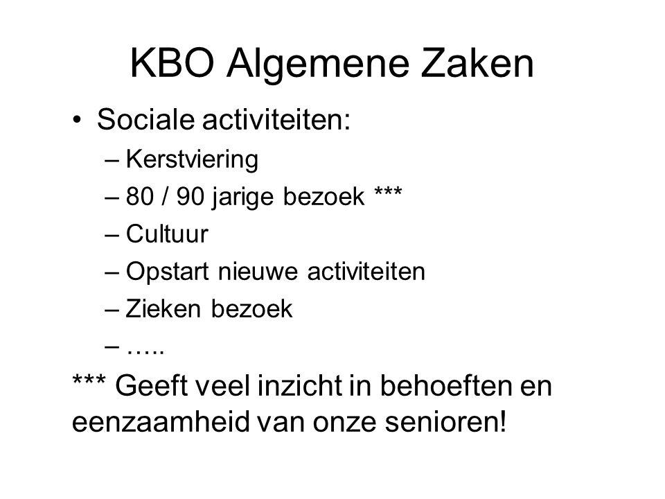 KBO Algemene Zaken Sociale activiteiten: