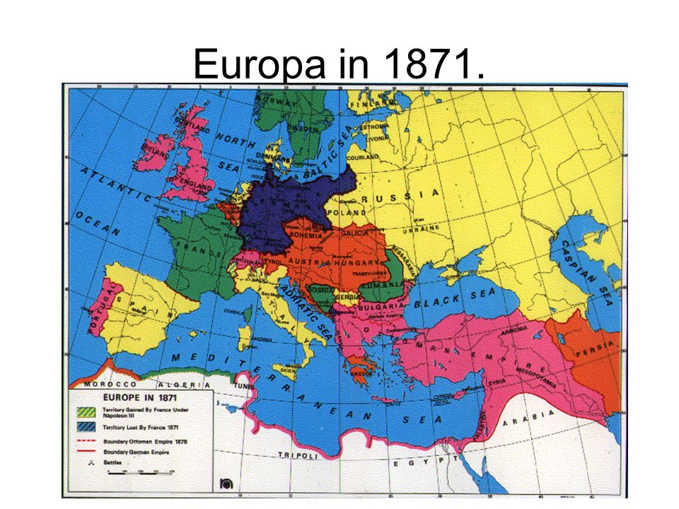 Europa in 1871. Europa na de Frans –Duitse oorlog.