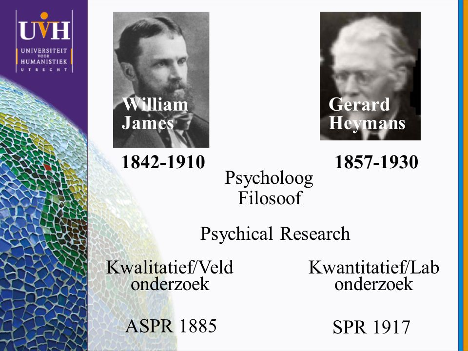 William James Gerard Heymans 1842-1910 1857-1930 Psycholoog Filosoof