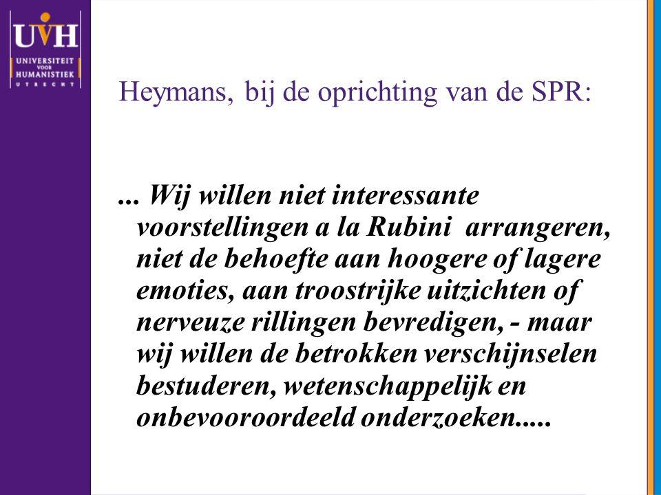 Heymans, bij de oprichting van de SPR: