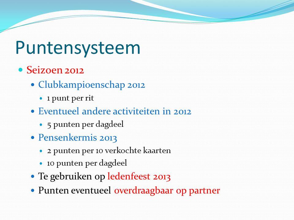 Puntensysteem Seizoen 2012 Clubkampioenschap 2012