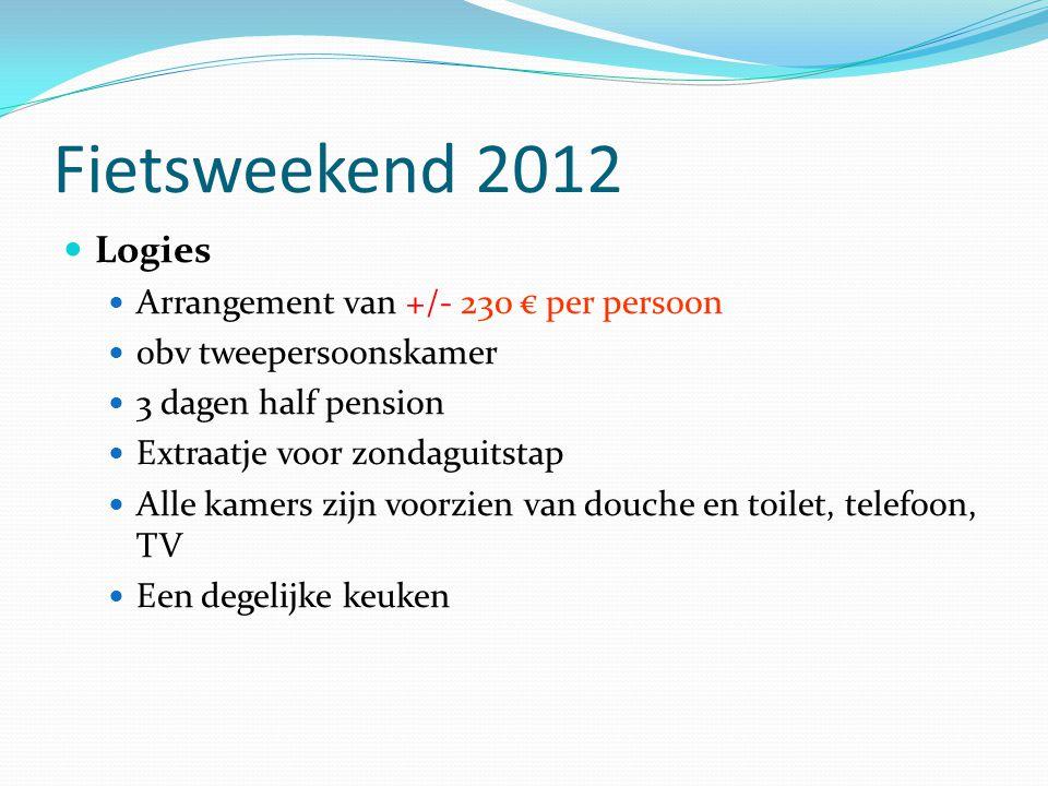 Fietsweekend 2012 Logies Arrangement van +/- 230 € per persoon