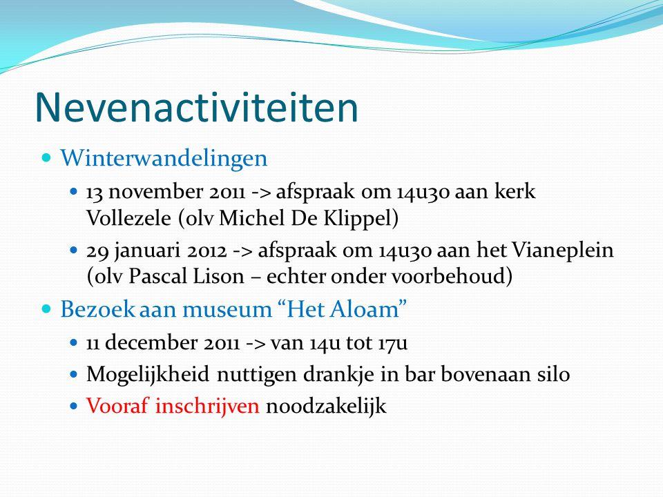 Nevenactiviteiten Winterwandelingen Bezoek aan museum Het Aloam