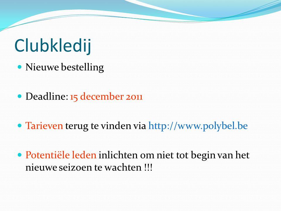 Clubkledij Nieuwe bestelling Deadline: 15 december 2011