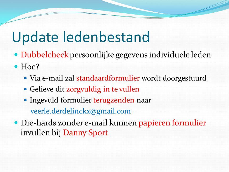 Update ledenbestand Dubbelcheck persoonlijke gegevens individuele leden. Hoe Via e-mail zal standaardformulier wordt doorgestuurd.
