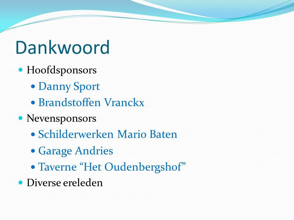 Dankwoord Danny Sport Brandstoffen Vranckx Schilderwerken Mario Baten