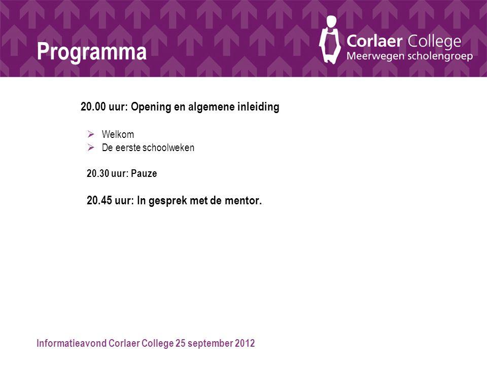 Programma 20.00 uur: Opening en algemene inleiding