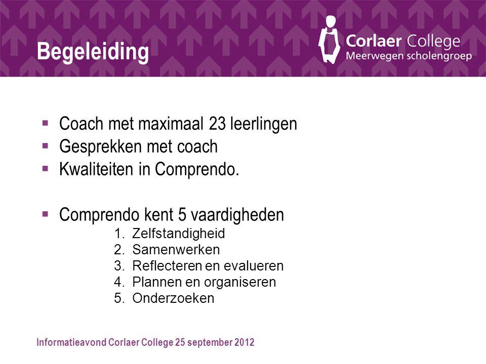 Begeleiding Coach met maximaal 23 leerlingen Gesprekken met coach