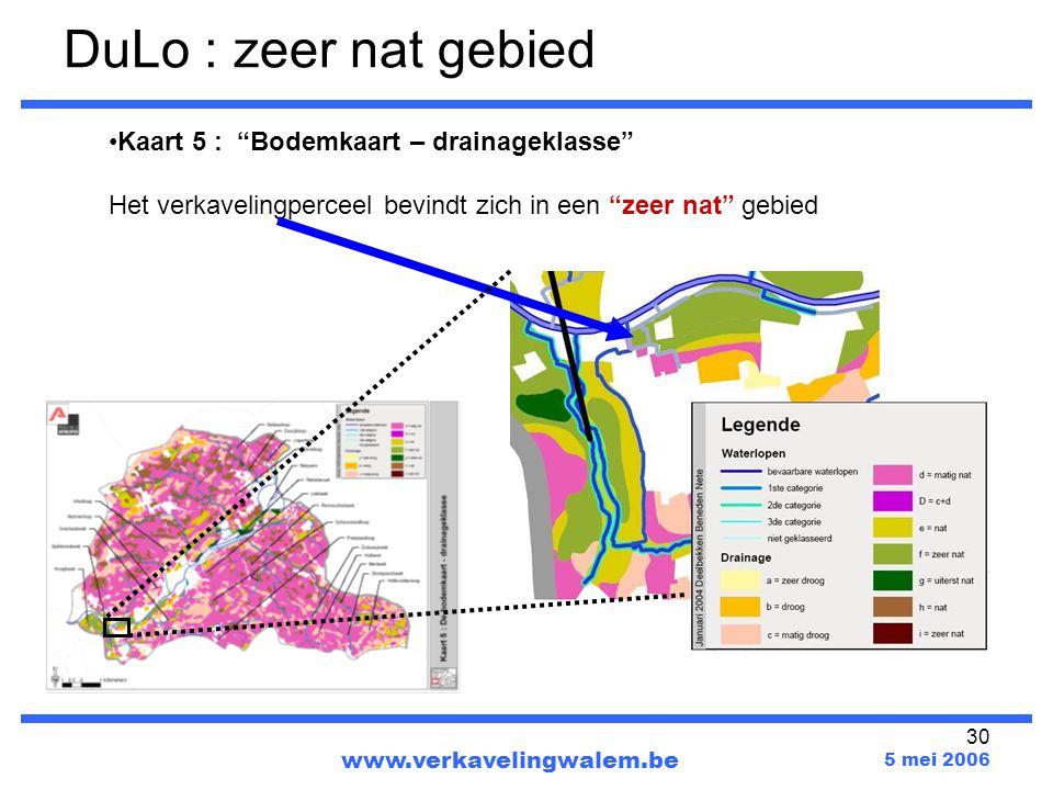 DuLo : zeer nat gebied Kaart 5 : Bodemkaart – drainageklasse
