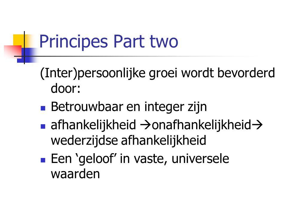 Principes Part two (Inter)persoonlijke groei wordt bevorderd door: