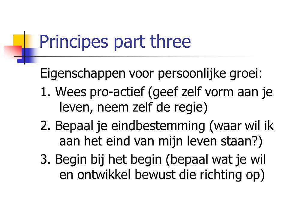 Principes part three Eigenschappen voor persoonlijke groei: