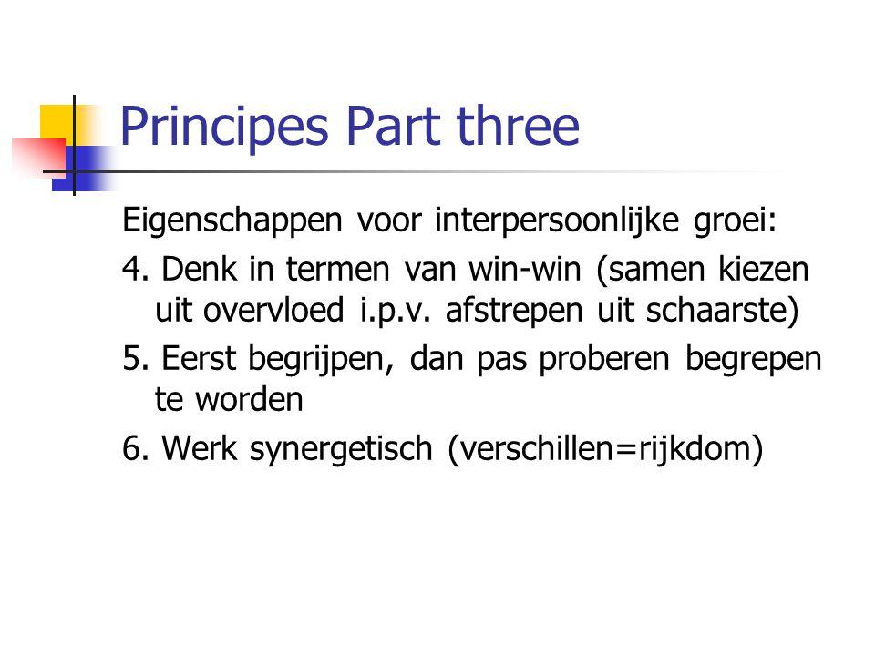 Principes Part three Eigenschappen voor interpersoonlijke groei: