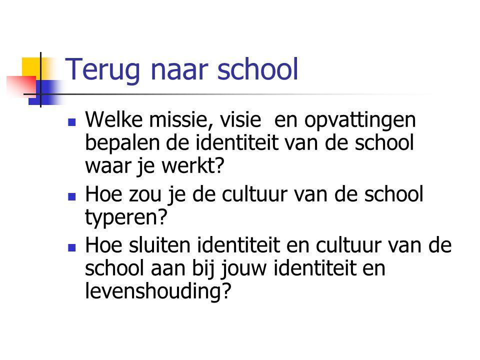 Terug naar school Welke missie, visie en opvattingen bepalen de identiteit van de school waar je werkt