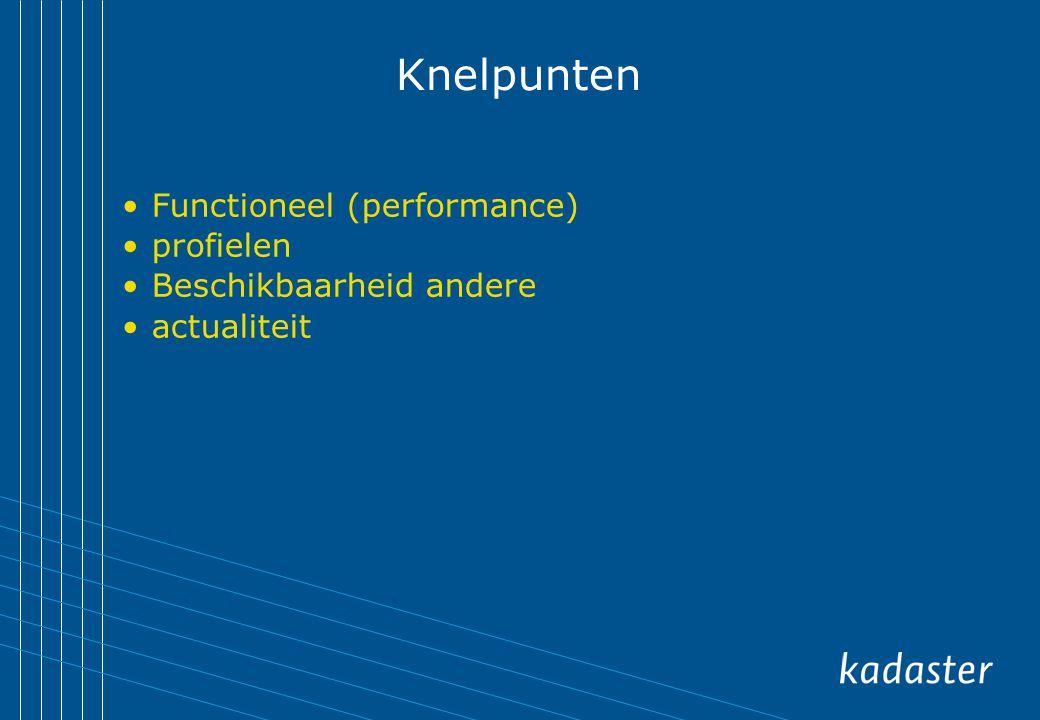 Knelpunten Functioneel (performance) profielen Beschikbaarheid andere