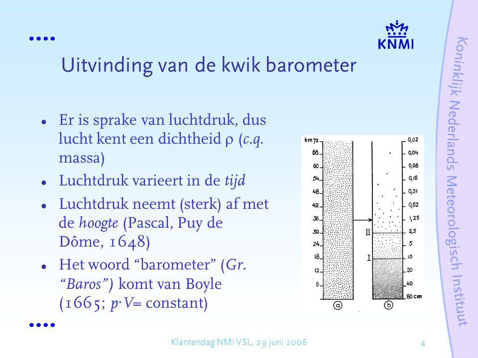 Uitvinding van de kwik barometer