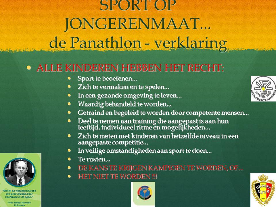 SPORT OP JONGERENMAAT... de Panathlon - verklaring