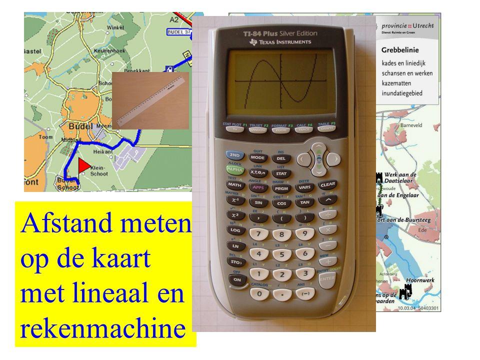 Afstand meten op de kaart met lineaal en rekenmachine