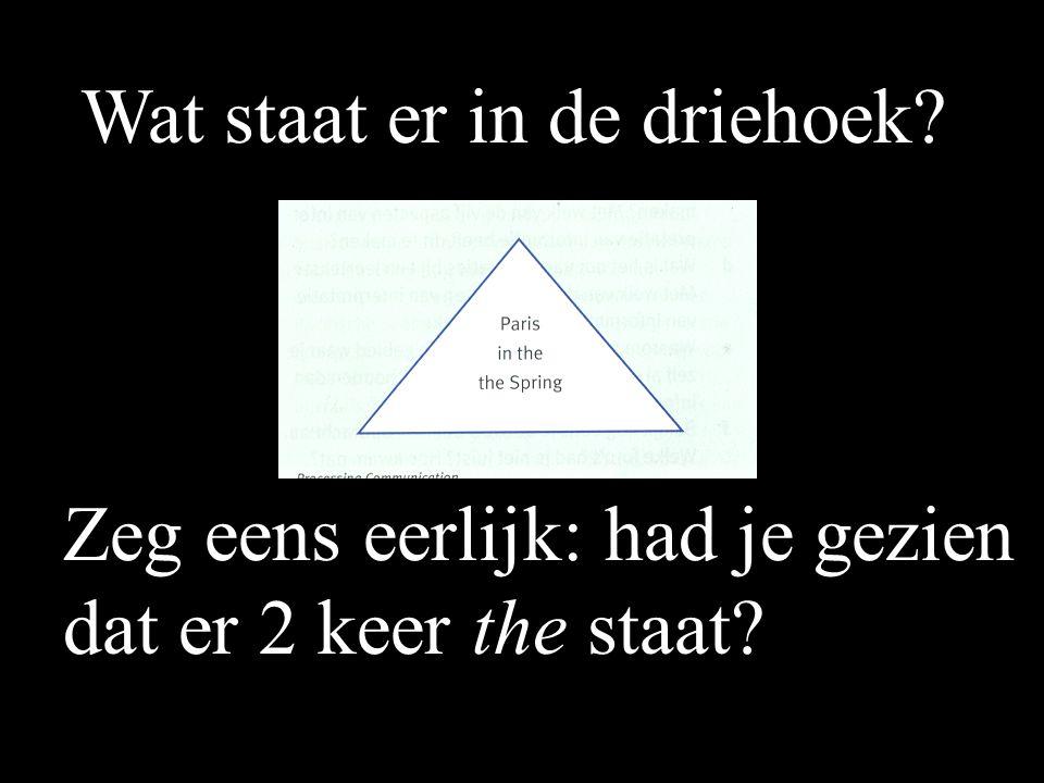 Wat staat er in de driehoek