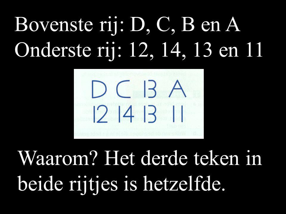 Bovenste rij: D, C, B en A Onderste rij: 12, 14, 13 en 11.