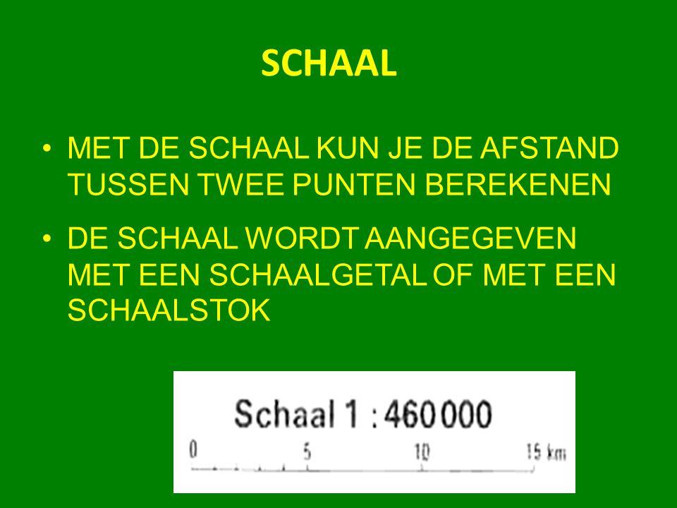SCHAAL MET DE SCHAAL KUN JE DE AFSTAND TUSSEN TWEE PUNTEN BEREKENEN