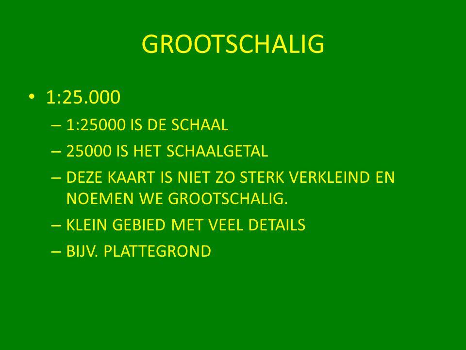 GROOTSCHALIG 1:25.000 1:25000 IS DE SCHAAL 25000 IS HET SCHAALGETAL