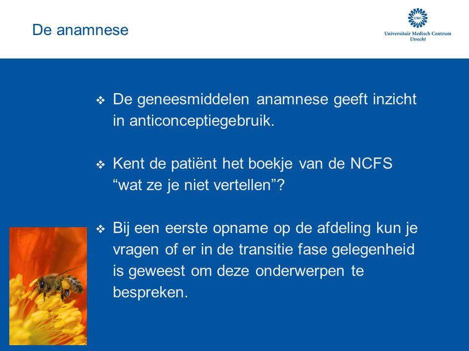 De anamnese De geneesmiddelen anamnese geeft inzicht in anticonceptiegebruik.