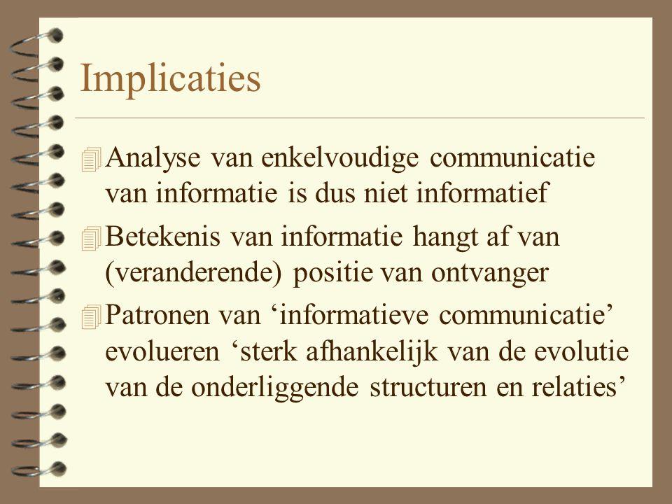 Implicaties Analyse van enkelvoudige communicatie van informatie is dus niet informatief.