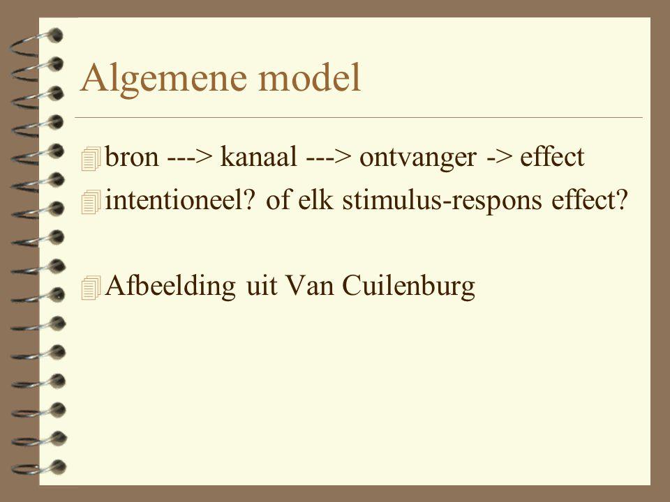 Algemene model bron ---> kanaal ---> ontvanger -> effect