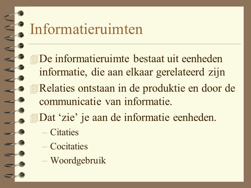 Informatieruimten De informatieruimte bestaat uit eenheden informatie, die aan elkaar gerelateerd zijn.