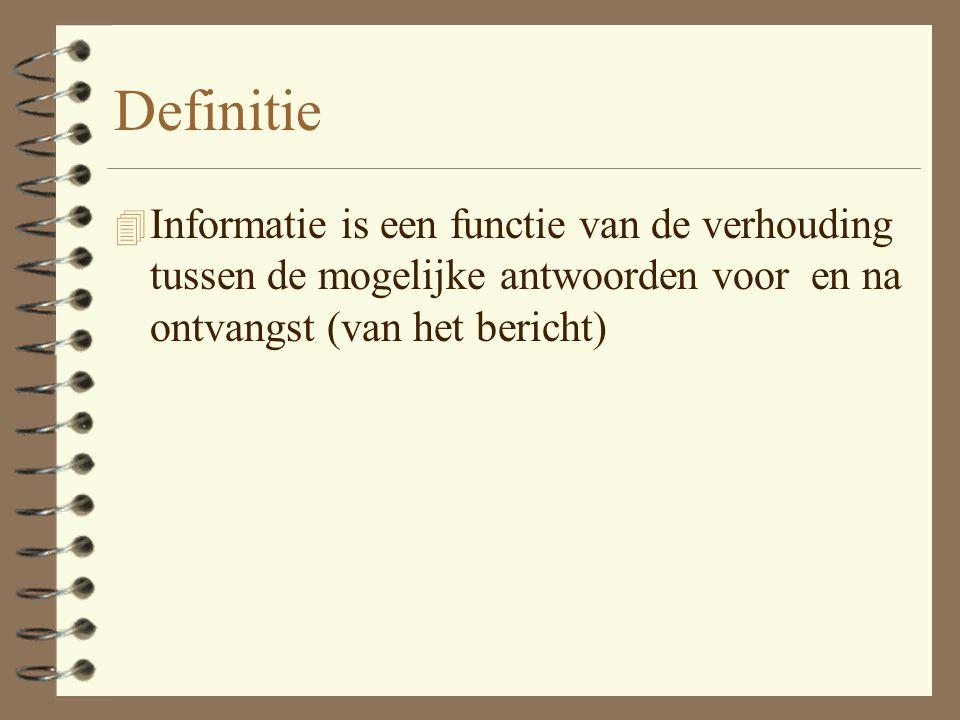 Definitie Informatie is een functie van de verhouding tussen de mogelijke antwoorden voor en na ontvangst (van het bericht)