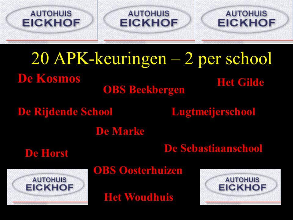 20 APK-keuringen – 2 per school