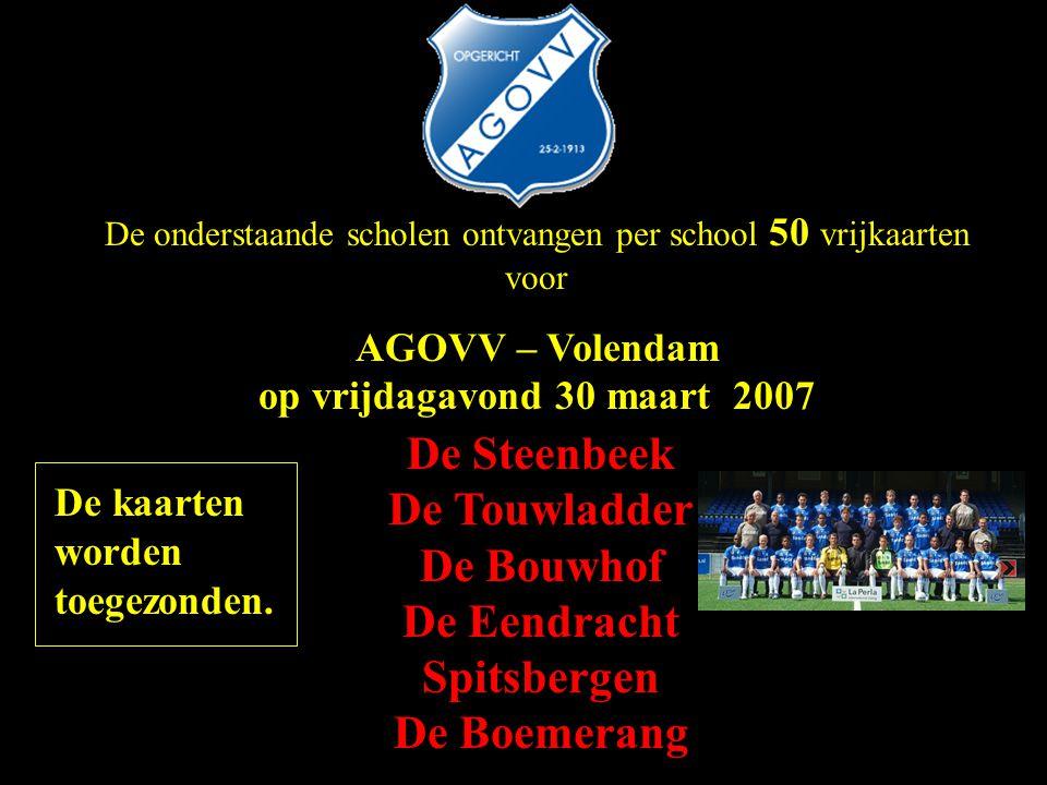 AGOVV – Volendam op vrijdagavond 30 maart 2007