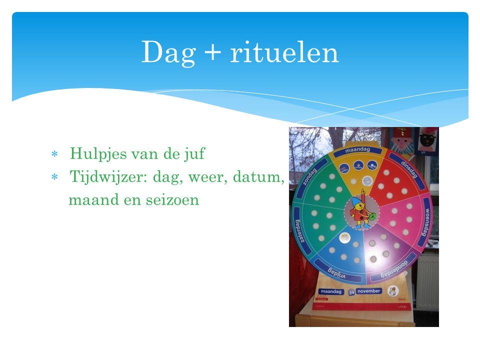 Dag + rituelen Hulpjes van de juf Tijdwijzer: dag, weer, datum,