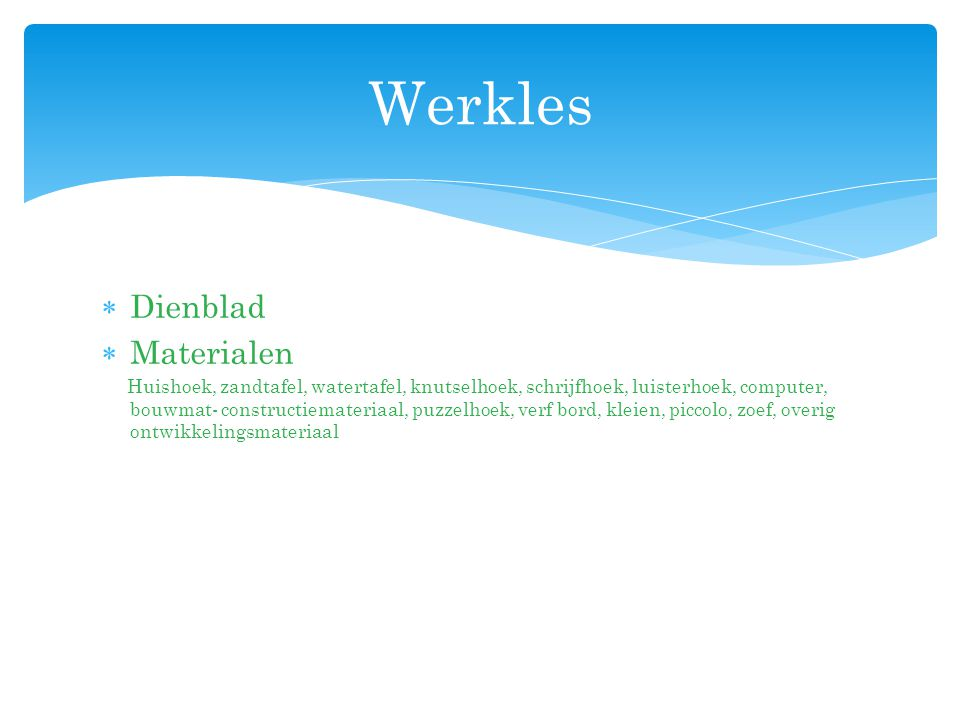 Werkles Dienblad Materialen