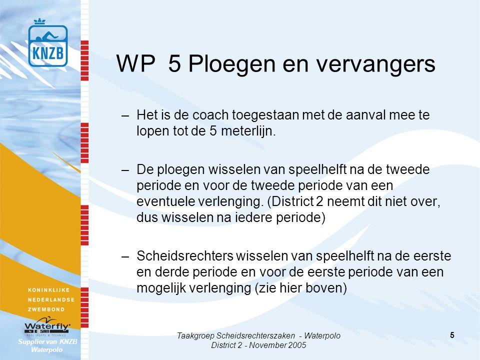 WP 5 Ploegen en vervangers