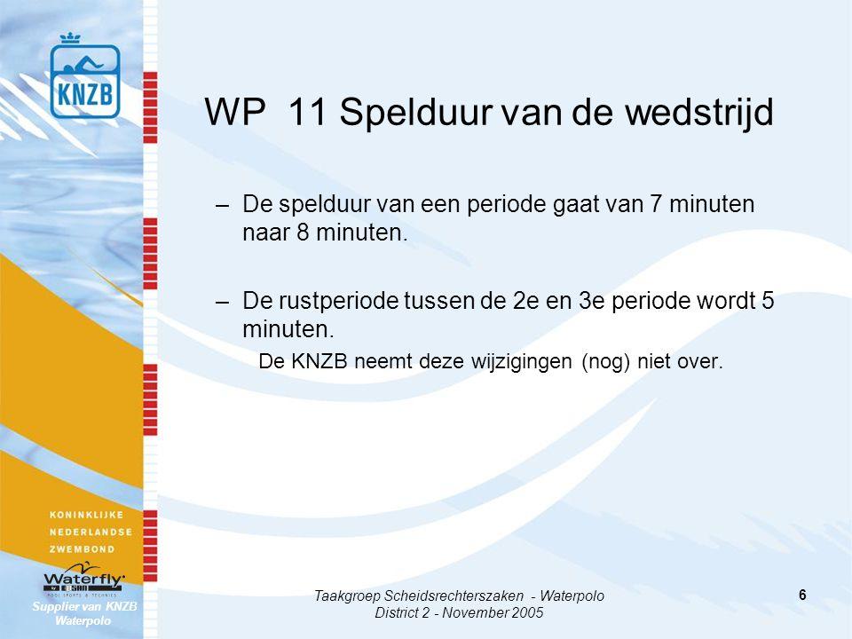 WP 11 Spelduur van de wedstrijd